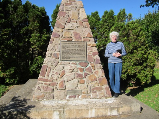 Lorna Coleman beside Planters' monument