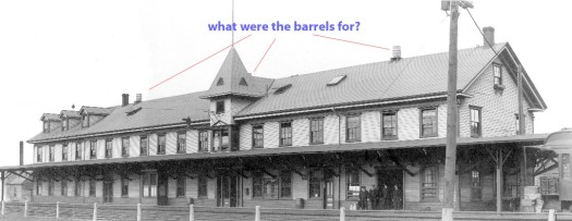 Kentville Railway Station with barrels on the roof