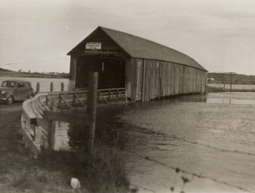 The covered bridge on the Gaspereau River at Avonport was built in 1869
