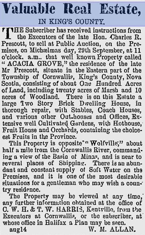 A detailed description of the estate of Charles R. Prescott, as it was in 1860