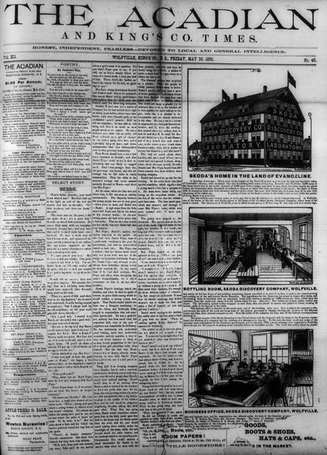 3. Exterior and interior pictures of the Skoda factory were published on the front page of The Acadian in May 1893