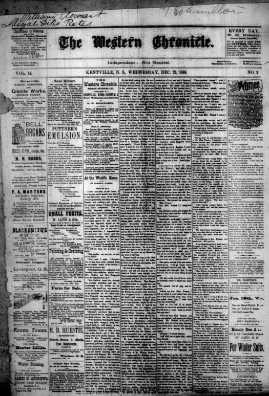 The front page on The Western Chronicle from 1886