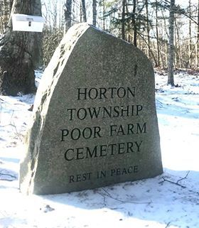 The headstone marking the site of the Horton Poor Farm cemetery